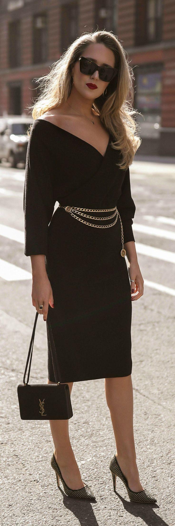 Day date night black fauxwrap long sleeve midi dress black