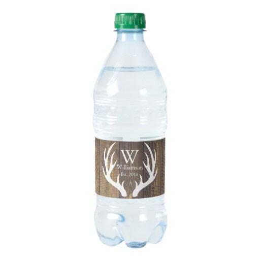 Rustic Country White Deer Antlers Barn Wood Water Bottle Label | Zazzle.com