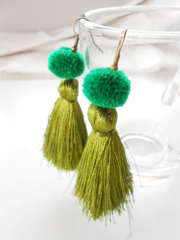 We have 8 colors --► Blue, Pink, Yellow, Red, Green, Purple, White and Orange. ★ Feel free to choose!! ★ These are a pretty pair of earrings that have been crafted from fluffed cotton cord and pom pom