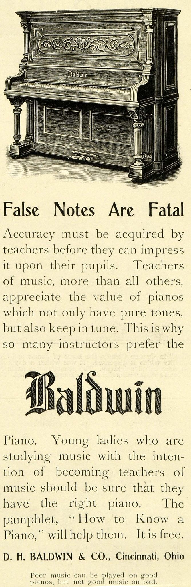 1899 Ad D. H. Baldwin Piano Instruments Music Lessons Wooden Keys Pedals LHJ6