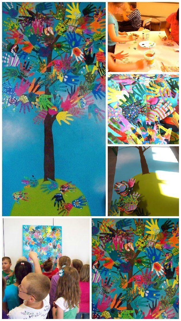 projekt med børn og hænder - sød ide til pyntning af et fællesrum i en børnehave