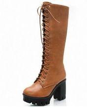 Amarillo negro Tamaño Grande 34-43 Lace Up Media Pantorrilla Mujeres botas Zapatos Nuevos Cuadrados de Tacón Alto Botas de Invierno Plataforma de La Moda bombas(China (Mainland))