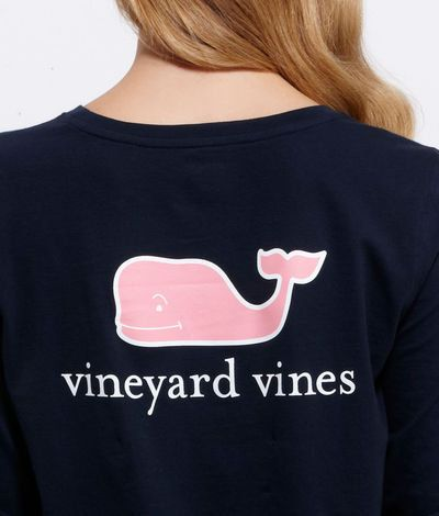 Women 39 s tees long sleeve whale logo t shirt for women for Whale emblem on shirt