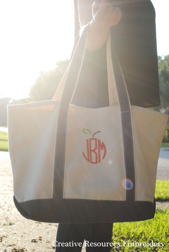 Hey, I found this really awesome Etsy listing at https://www.etsy.com/listing/235969656/apple-monogram-large-canvas-tote-bag