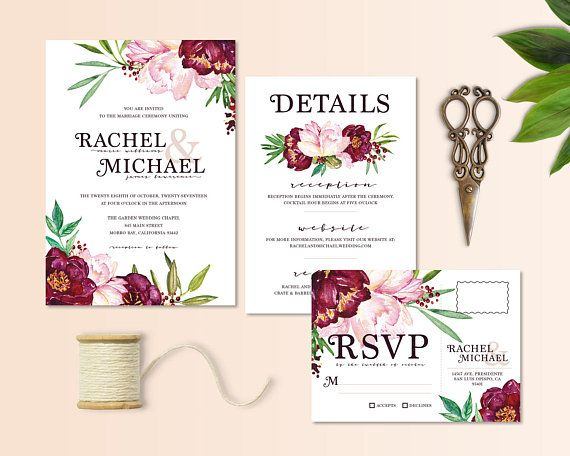 Beautiful floral peony in blush, wine, and foliage colors wedding/party invitation set. The RSVP is designed as a postcard, so just place a stamp on it and place in the mail- no need for an additional envelope! Customizable details card has room for additional information you need to communicate to your guests - completely customizable! Some examples include: registry, website, reception, dress code, etc. Just please keep in mind space limitations here.  This listing is for me to update ...