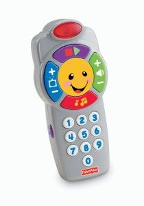 Laugh and Learn Click'n Learn Remote This toy helps to learn about cause and effect. Number keys: When pressed, voice states the number. If you press the same one twice, a little sound plays instead.  http://awsomegadgetsandtoysforgirlsandboys.com/fisher-price-toys-12-24-months/ Laugh and Learn Click'n Learn Remote