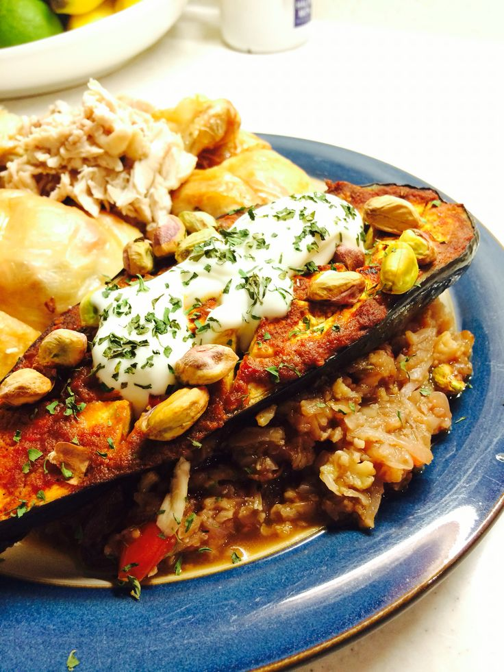 Everyday Superfoods - Harissa roasted aubergine with cauliflower rice