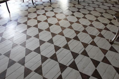 Painted wood floors in summer palace of floral artist Tage Andersen, Gunillaberg, Sweden.