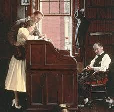 """Norman Rockwell ... """"Two Sweethearts, Applying for their marriage License""""."""