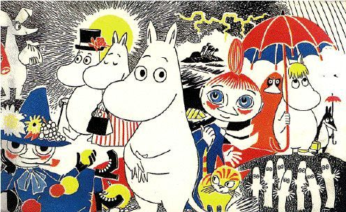 The Moomins by Tove Jansson  Moominmama, Moominpapa, the Snorkmaiden, Sniff and…