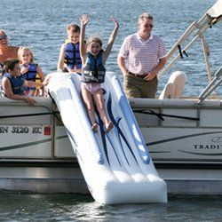 Pontoon boat water slide. Must have. #boatsdotcom wonder if it works on sports boats?