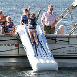 Pontoon boat water slide. Must have. #boatsdotcom wonder if it works on my Mako?!?!?