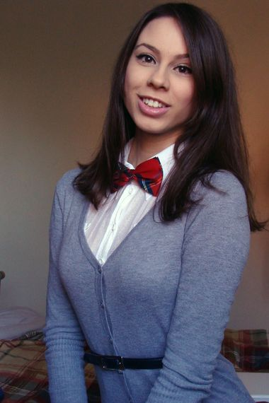 Red plaid bow tie with sweater, great holiday look!
