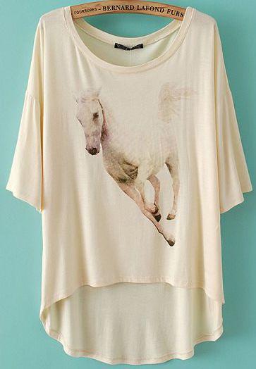 Beige Batwing Sleeve Horse Print Dipped Hem T-Shirt EUR€13.44