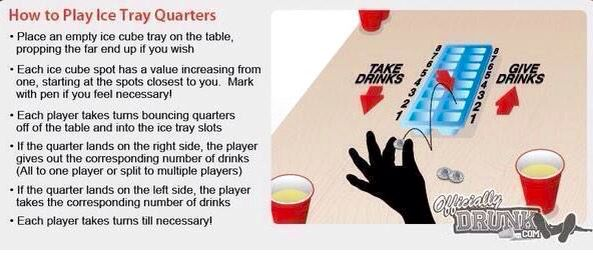 Ice tray quarters drinking game