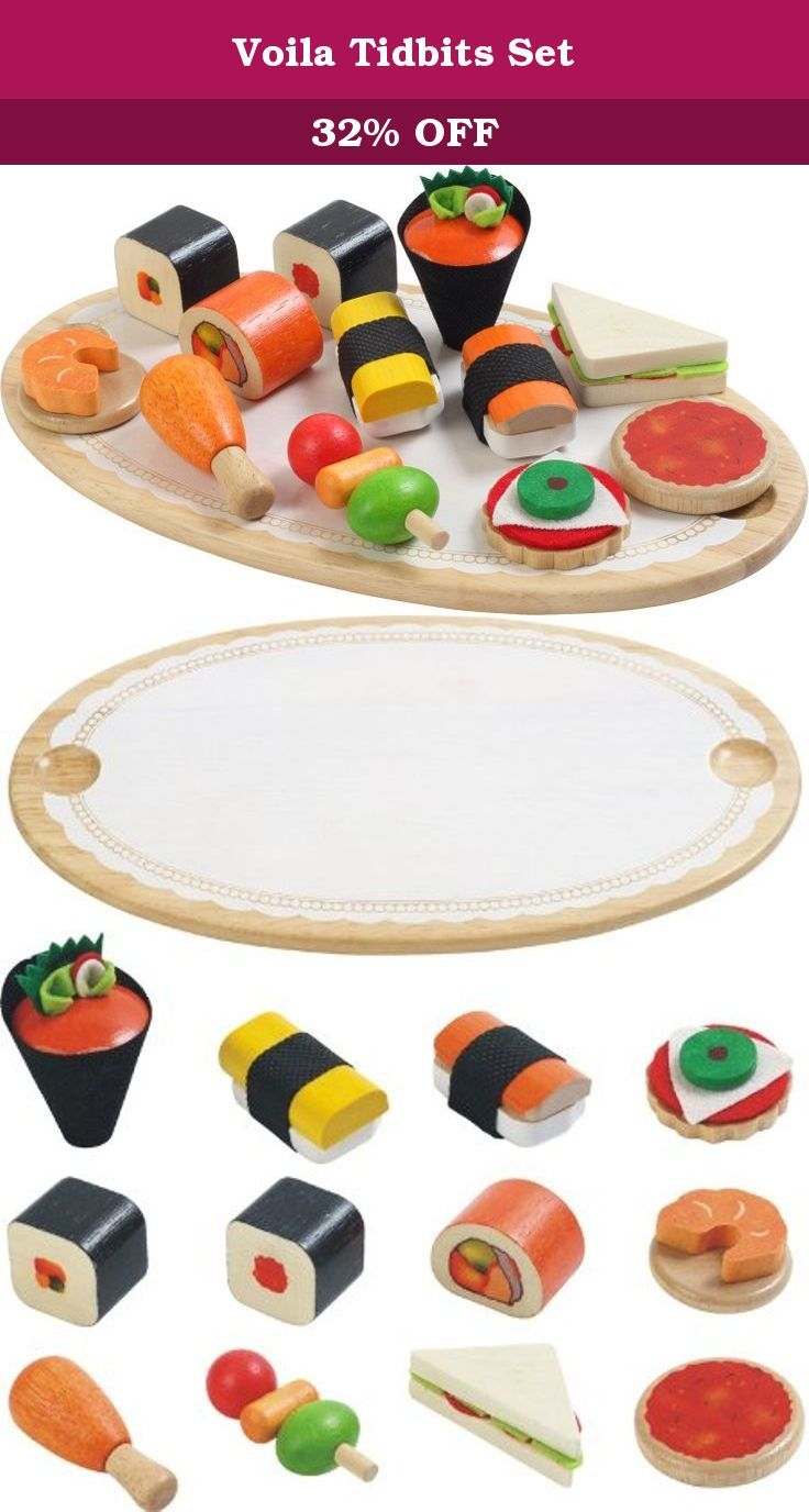 Voila Tidbits Set. 12 varieties of appetizing finger foods made of wood and fabric are presented on an oval wooden platter. Product size : Platter size - W 5 1/4 x L 9 1/2 x H 1/2 in. Box size : W 8 7/8 x L 8 7/8 x H 2 1/8 in.