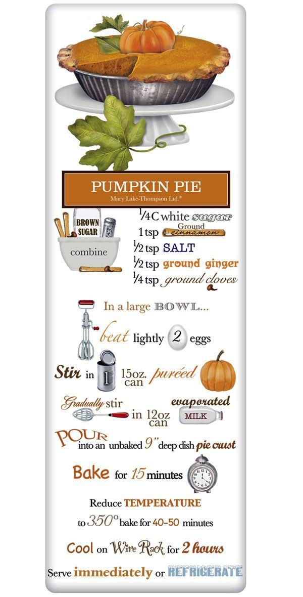 Rustic Pumpkin Pie Recipe 100% Cotton Flour Sack Dish Towel Tea Towel