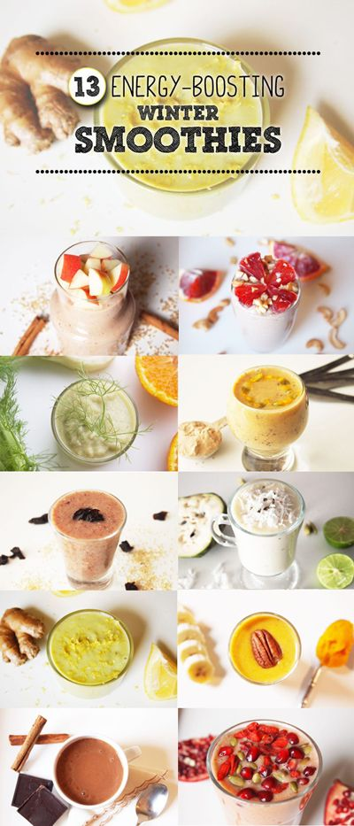 Need an energy boost? During winter, it's especially important to get your daily dose of fruits and vegetables to help your strengthen your immune system to battle colds and flus. Here are 13 smoothie recipes that will help do just that: http://www.livestrong.com/slideshow/1011276-13-energyboosting-winter-smoothies/