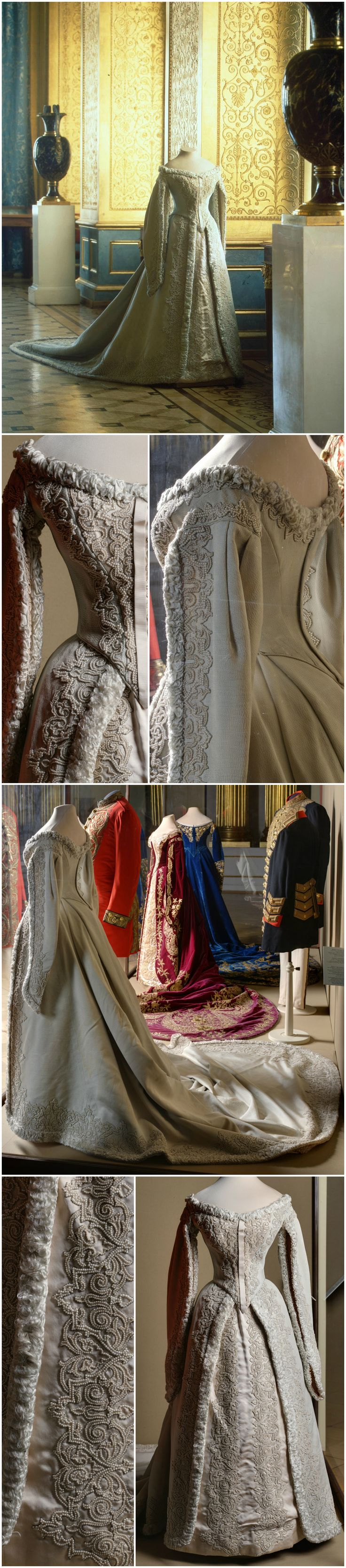 Ceremonial court dress belonging to Empress Alexandra Fyodorovna. Made by the workshop of O. Bulbenkova, St. Petersburg. Silk with rep weave, imitation pearls and fringe. State Hermitage Museum (link: https://www.hermitagemuseum.org/wps/portal/hermitage/digital-collection/08.+Applied+Arts/1263423/?lng=en). Other photos are via Ghosts of Imperial Russia's Tumblr. CLICK FOR VERY LARGE IMAGES.