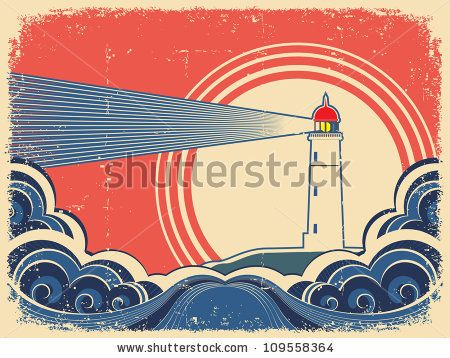Lighthouse with blue sea.Vector grunge background for design of symbol card by Tancha, via Shutterstock