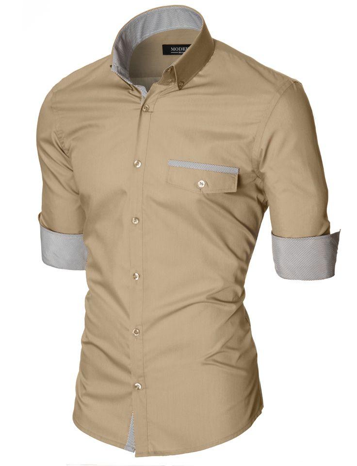 MODERNO Slim Fit Freizeit Herrenhemd (MOD1413LS) Beige