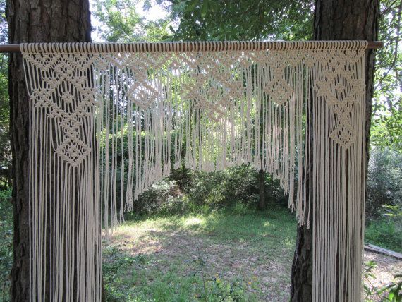 Items similar to Large Macramé Wedding Backdrop window curtain Bohemian Gypsy on Etsy