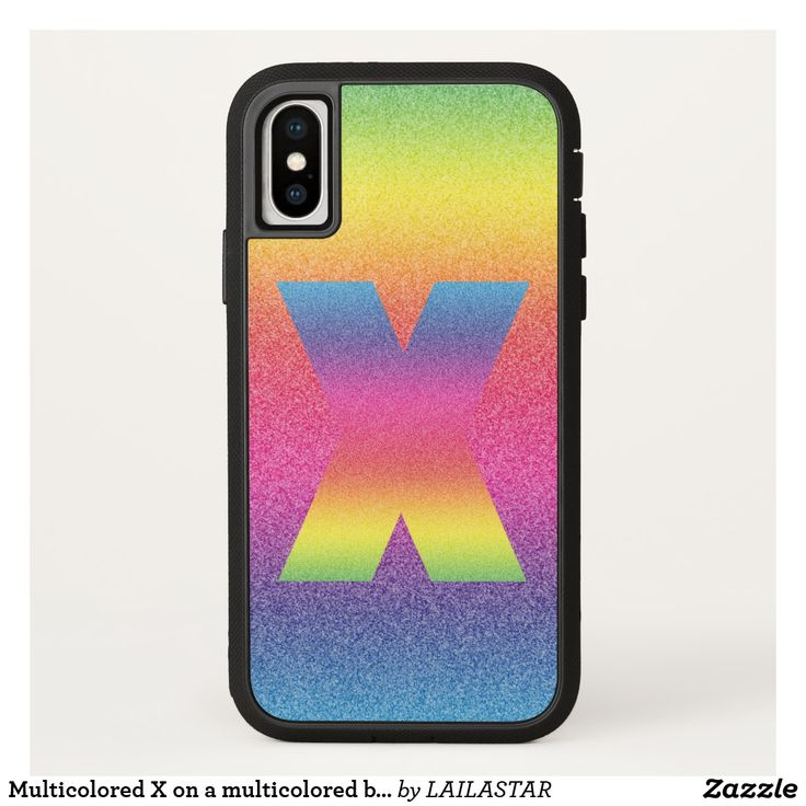 Multicolored X on a multicolored background iPhone X Case