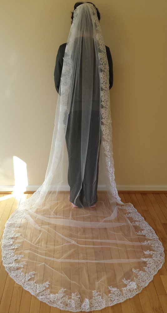 1T CATHEDRAL WEDDING VEIL WITH LACE EDGE (10 FT LONG) - WHITE OR IVORY