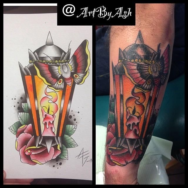 Traditional Lantern Tattoo & Water Color Painting ...