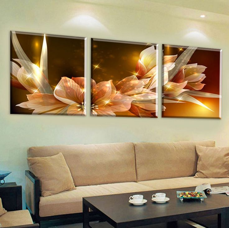 Amazon.com: Hot Sell 3 Panels 30 X 30 cm Modern Paintings Wealth And Luxury Golden Flowers Wall Painting Picture Home Decorative Art Picture Paint On Canvas Prints: Posters & Prints