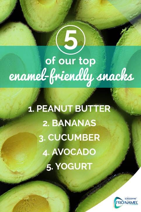 These snacks are healthy and low in acid. Acidic foods can cause Acid Erosion of tooth enamel, but do you know which foods are acidic? You'll find peanut butter, bananas, cucumber, avocado and yogurt closer to neutral on the pH scale than most, making them good choices for tooth enamel, just like ProNamel® toothpaste. Brushing your teeth twice daily with ProNamel® also helps keep tooth enamel strong.