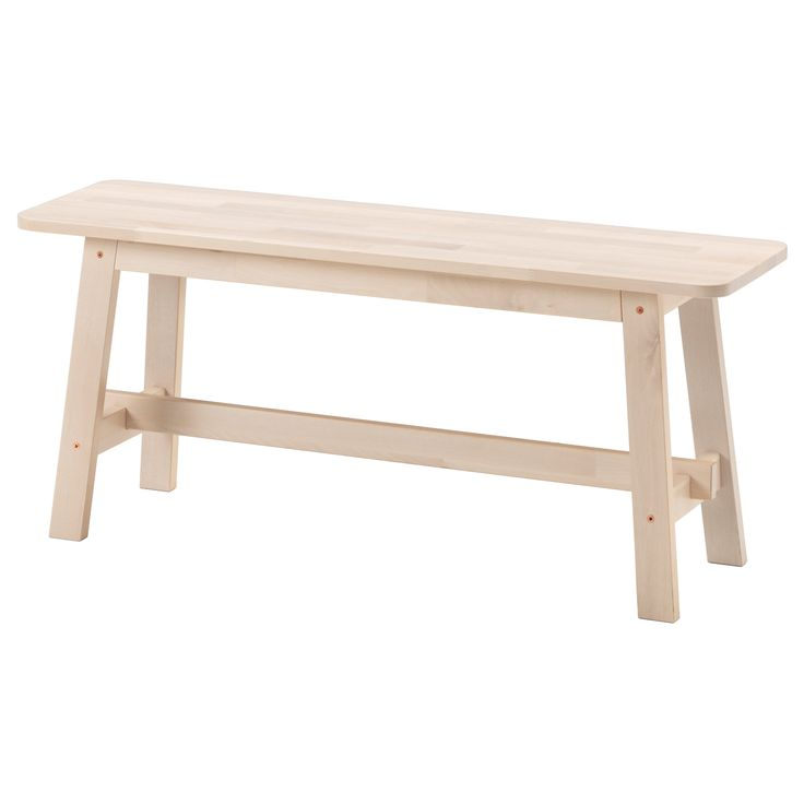 IKEA - NORRÅKER, Bench, Durable and hard-wearing; meets the requirements on furniture for public use.Less risk of children hitting their head as the bench has rounded corners.Every bench is unique, with varying grain pattern and natural colour shifts that are part of the charm of wood.Solid birch is a hardwearing natural material. $99
