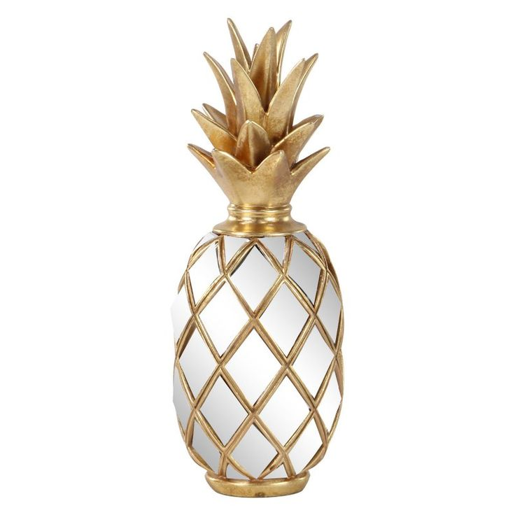 Decmode Resin Modern Pineapple Decor With Mirror Inlays