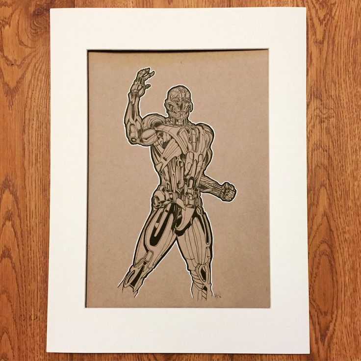 Ultron ( fine liner & copic marker on tonal ) By Huw Williams
