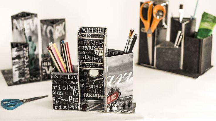 Aus einem alten Aktenordner wird mit wenig Aufwand eine praktische Stiftebox. Designerin Martina Lammel zeigt wie's geht.