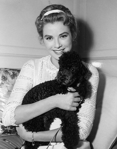 Grace Kelly with her poodle, Oliver