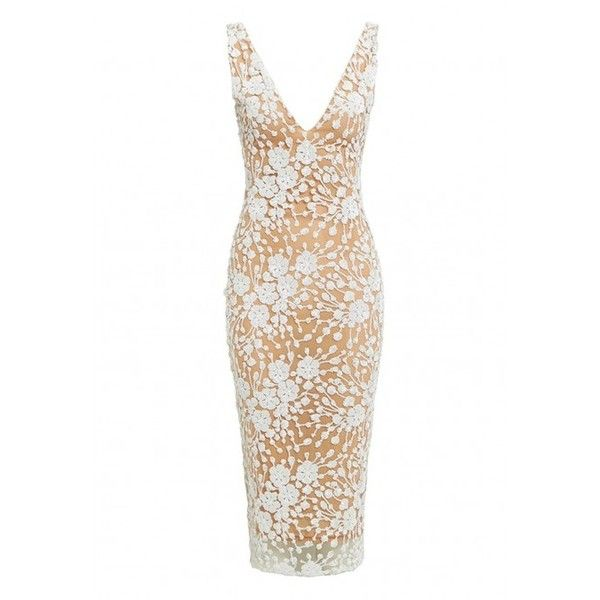 Nadine Merabi Nyla Embellished Midi Dress in Nude ❤ liked on Polyvore featuring dresses, silver cocktail dress, floral midi dress, white midi dress, v neck cocktail dress and sexy white dresses