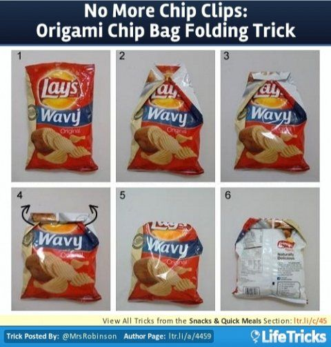 Snacks & Quick Meals - No More Chip Clips: Origami Chip Bag Folding Trick