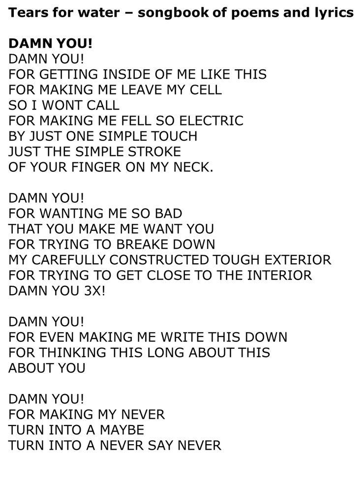 Damn you - Alicia Keys | Tears For Water | Pinterest