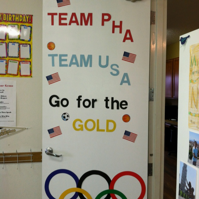 My Olympic-themed classroom door- our first theme unit in ...
