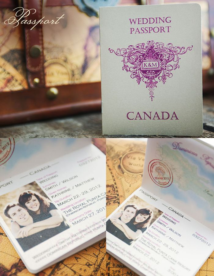 wedding invitations map%0A Destination Wedding Invitation Passport by  Enchanted Moments  Invitations   u     Cards
