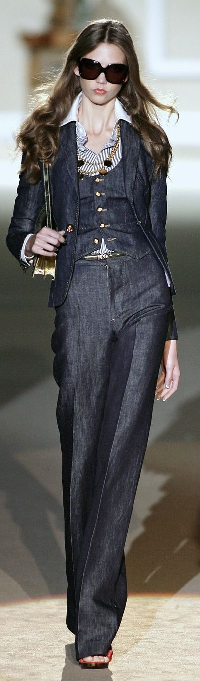Oh...my...God! A three piece denim suit complete with pinstripe shirt; I'm in LOVE! Dsquared² - B. A. Snob: