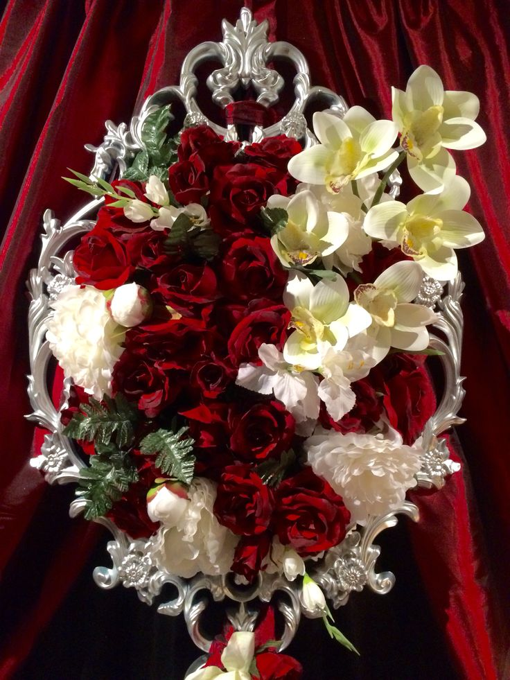 Romantic and classic red and white floral frames