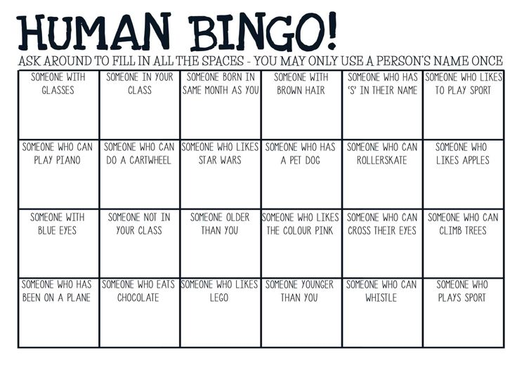 Printable pdf Human Bingo game. Ice-breaker activity. Suitable for primary and high school