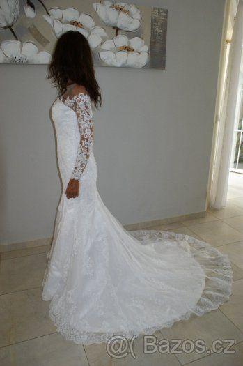 Prodám krásné krajkové svatební šaty - 1