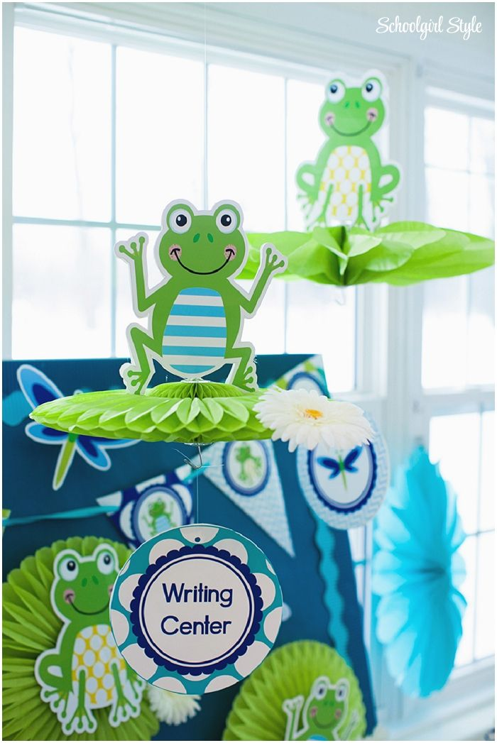 Frogs, chevron, dragonflies, polka dots, navy, turquoise, lime green, blue, stripes classroom theme and decor. ~Classroom decor by Schoolgirl Style www.schoolgirlstyle.com