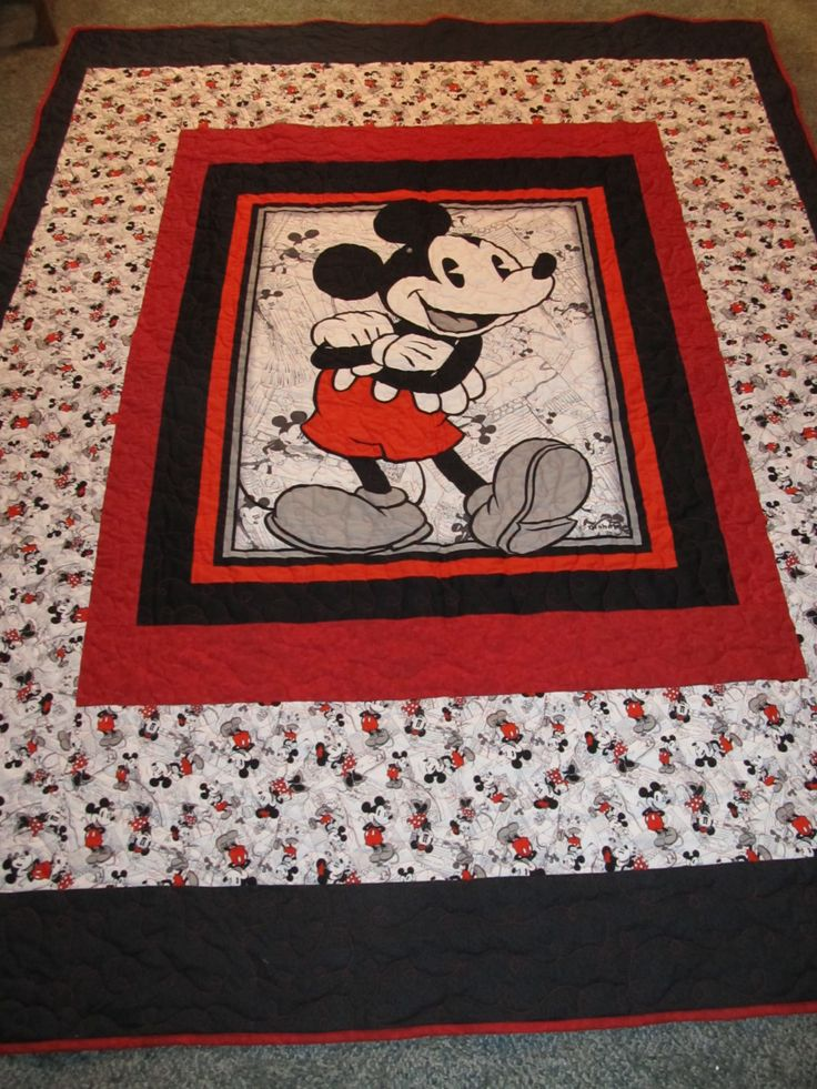 "Mickey Mouse Quilt. 68"" x 87"" - Will fit a twin size bed. by TheKingsQuiltShop on Etsy"