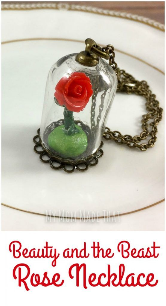 This is an easy jewelry craft project to create your very own Beauty and the Beast Rose Necklace that is inspired by the rose in the bell jar from the classic Disney movie!