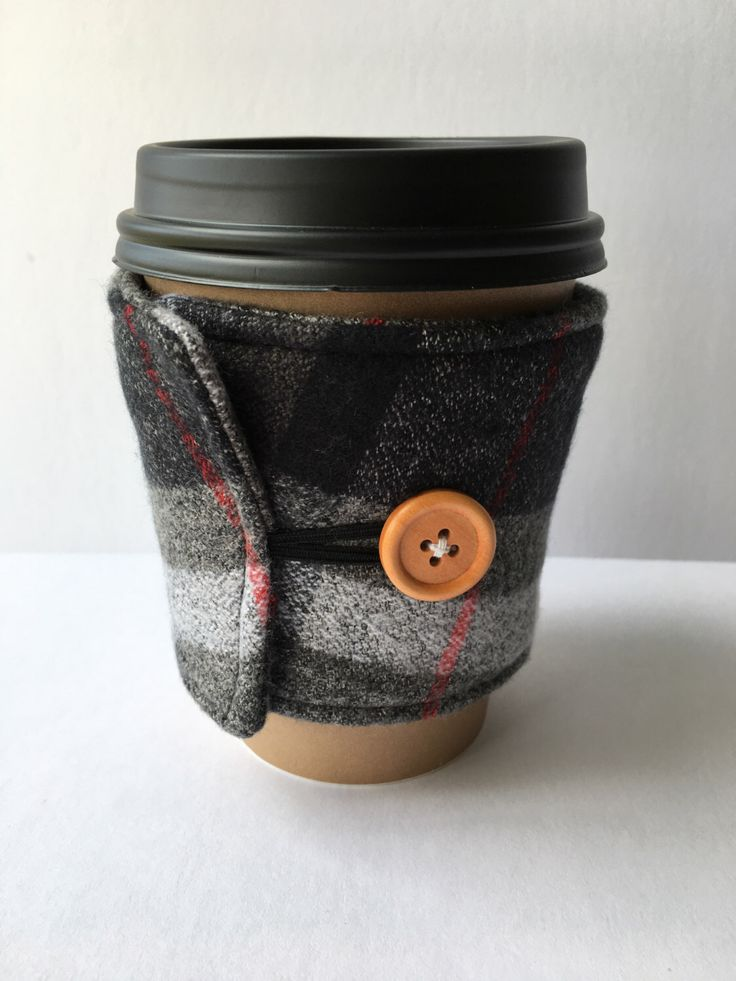 Coffee Cozy- Red, Black and Grey Plaid Cotton Flannel Coffee Cup Sleeve- Reusable Coffee Sleeve by NaccisNeedleworks on Etsy https://www.etsy.com/listing/474736554/coffee-cozy-red-black-and-grey-plaid