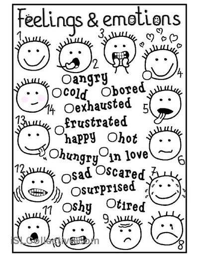 Feelings and emotions - matching worksheet